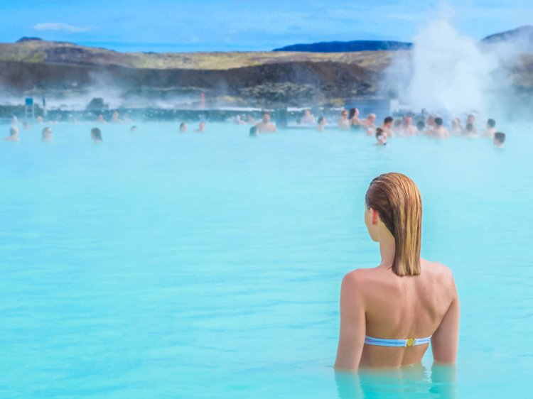 people bathing in Blue Lagoon Iceland