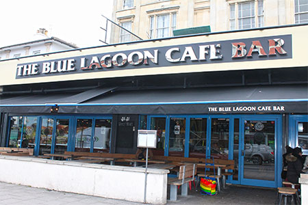 storefront of the blue lagoon cafe bar in iceland