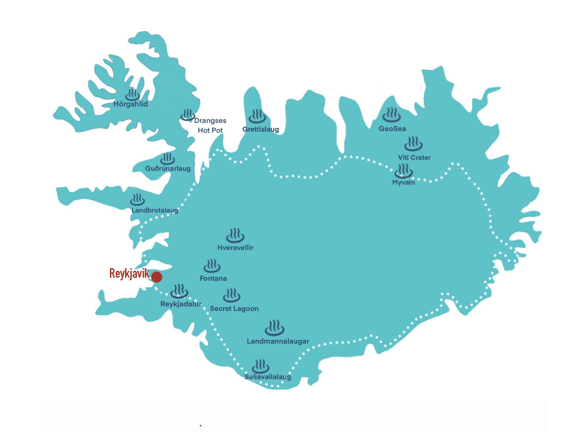 map with locations of hot springs in iceland